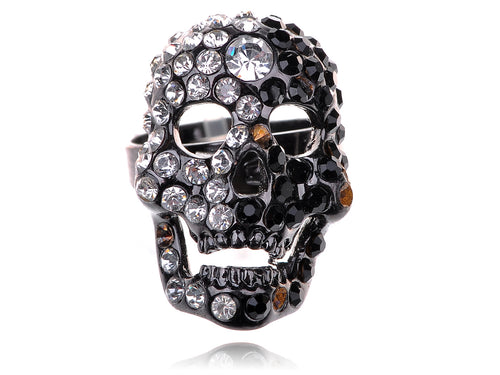 Mesmerizing Black Gun Plated Skull Head Ring