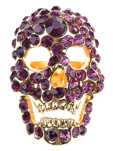 Stunning Amethyst Skull Head Jewelry Ring