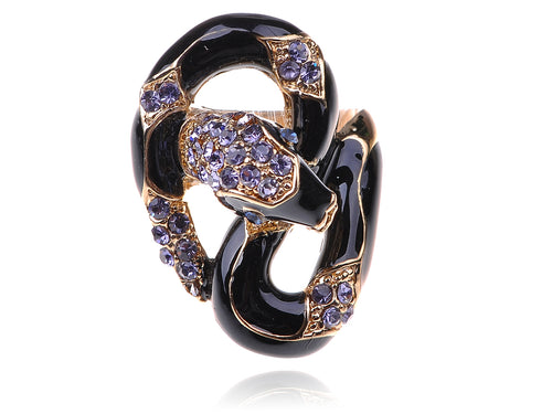 Black Gold Purple Wrap Around Snake Statement Rings