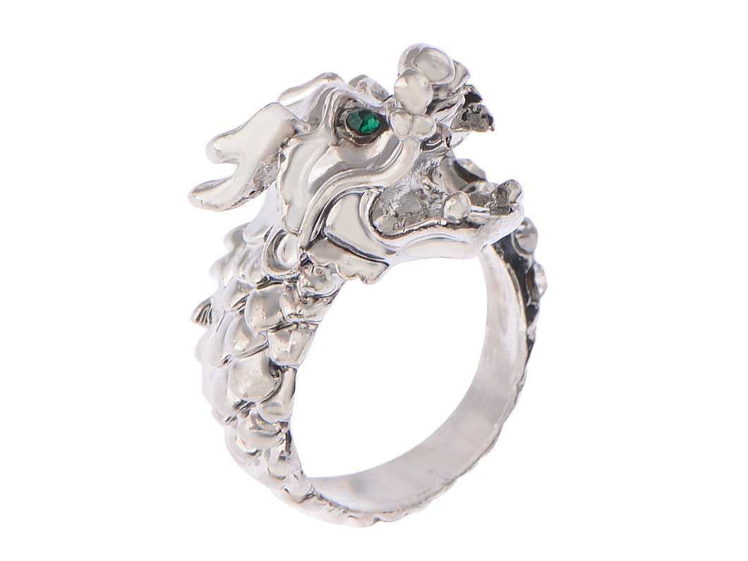 Roar Feisty Emerald Eye Silver D Dragon Head Able Sized Ring