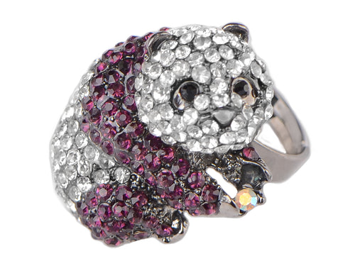 Purple Pearl Panda Bear Ring