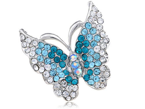 Light Blue Sparkle Flying Butterfly Hand Ring