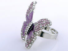 Load image into Gallery viewer, Butterfly Purple Enamel Amethyst Spring Ring