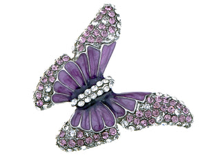 Butterfly Purple Enamel Amethyst Spring Ring