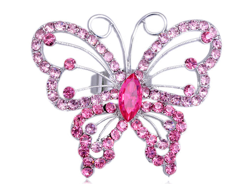 Butterfly Widespread Wing Fly Design Pink Rose Spring Ring