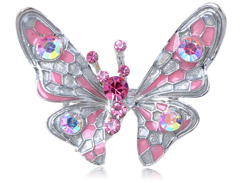 Pink Sparkle Enamel Wing Body Butterfly Ring