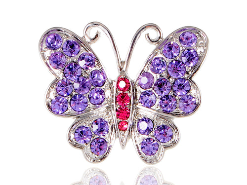 Silver Purple Spring Butterfly Ring