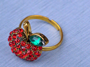 Gold Red Snow White Apple Fruit Leaf Ring