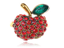Load image into Gallery viewer, Gold Red Snow White Apple Fruit Leaf Ring