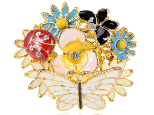 Adorable Big Face Colorful Butterfly Ladybug Clustered Flower Ring