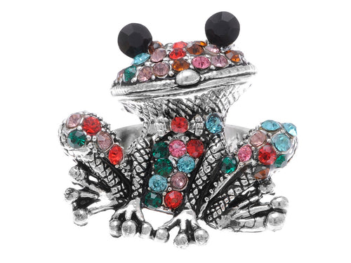 Cool Colorful Big Eye Black Frog Toad Ring