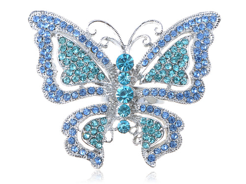 Sapphire Blue Colored Butterfly Ring