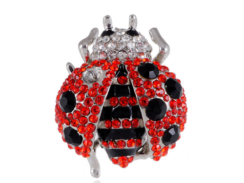 Red Big Ladybug Insect Ring