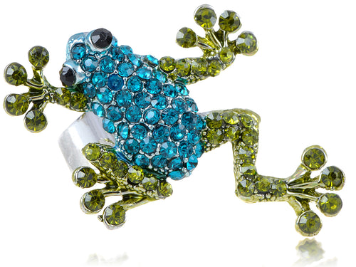 Silver Blue Green Frog Toad Ring