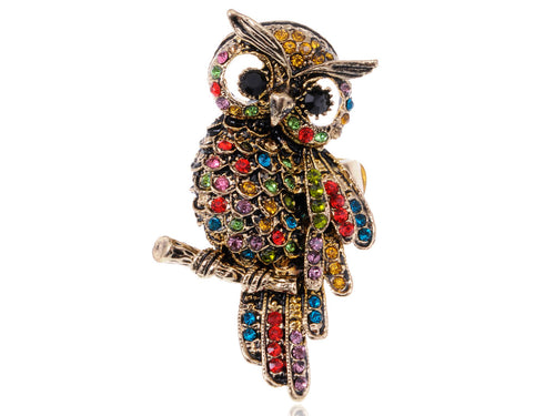 Alilang Womens Stretchy Antique Golden Tone Multicolored Rhinestones Rainbow Owl Bird Ring