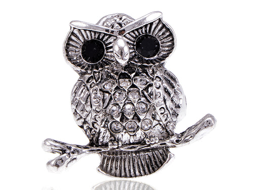 Alilang Fat Chubby Owl Crystal Rhinestone Fashionable Adjustable Ring