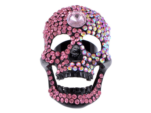 Hot Pink Happy Head Skull Black Ring