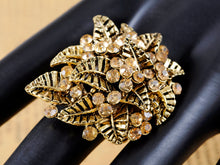Load image into Gallery viewer, Light Yellow Topaz Leaf Cluster Flower Bouquet Ring