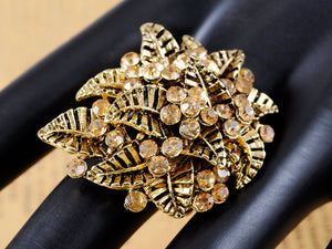 Light Yellow Topaz Leaf Cluster Flower Bouquet Ring