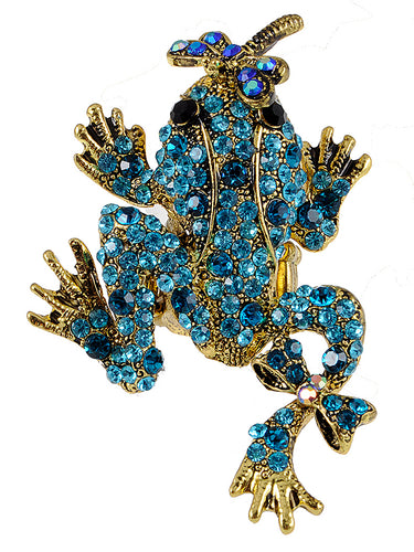 Antique Marine Blue Dragonfly Kisses Frog Toad Ring