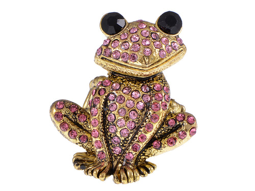Antique Pink Curious Frog Toad Ring