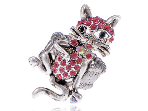 Pewter Cocky Cool Bow Tie Whisker Cat Pink Ring