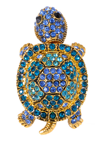 Sapphire Blue Colored Turtle Tortoise Ring