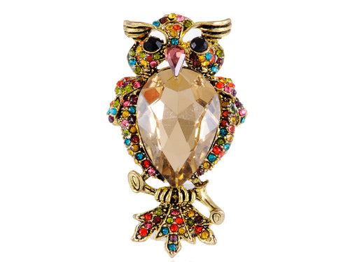 Rainbow Colorful Crystal Rhinestone Puffed Feathers Cocky Mad Owl Bird Fly Ring