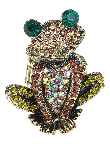 Antique Multicolored Frog Toad Ring