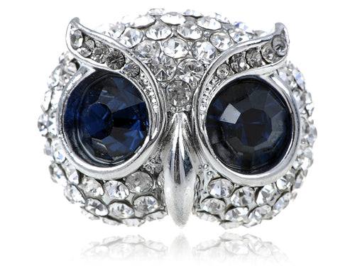 Alilang Womens Adjustable Silvery Tone Dark Blue Gemstone Big Eyed Wise Owl Head Ring