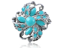 Load image into Gallery viewer, Turquoise Abstract Floral Flower Ring