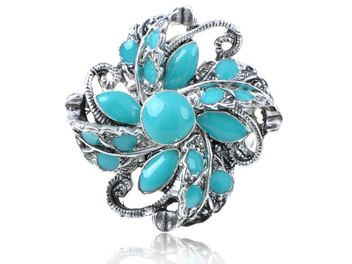 Turquoise Abstract Floral Flower Ring