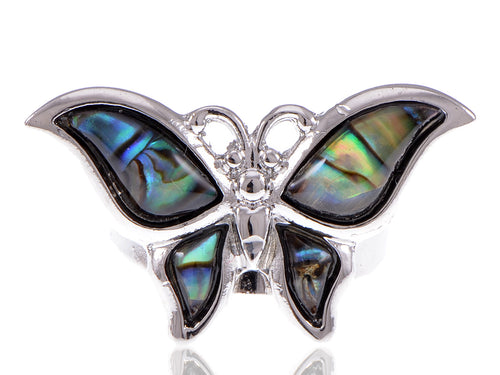 Silver Dark Mystery Green Natural Abalone Shell Butterfly Ring