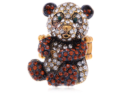 Antique Topaz Happy Panda Bear Ring