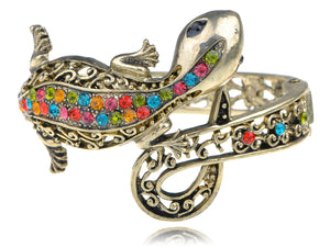 Multi Colored Lizard Gecko Salamander Bracelet Bangle Cuff