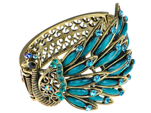 Antique Peacock Bracelet Bangle With Turquoise Blue Gems