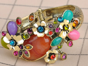 Multicolor Abstract Butterfly Insect Flower Garden Bangle Cuff Bracelet