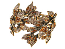 Load image into Gallery viewer, Peach Topaz Colored Leaf Cuff Wrap Bracelet