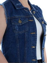 Load image into Gallery viewer, Distressed Denim Crop Vest
