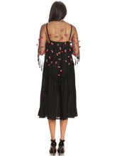 Load image into Gallery viewer, Anna-Kaci S/M Fit Black Victorian Inspired Tassel Fringe Floral Rose Bead Shawl