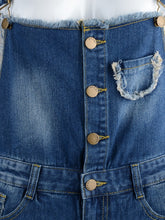 Load image into Gallery viewer, Distressed Denim Short Overalls