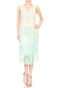 Gatsby Crochet Vest Lace Dress Set