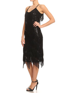 Sequin Fringe Flapper Midi Dress