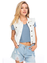 Load image into Gallery viewer, Frayed Denim Crop Button Up Vest