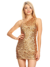 Load image into Gallery viewer, One Shoulder Sequin Mini Dress