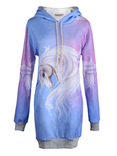 Load image into Gallery viewer, Anna-Kaci Womens Blue Purple Fantasy Mythical Fairy Tale Unicorn Long Sleeve Hoodie