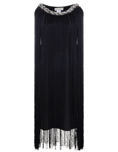 Braided Neck Chain Fringe Mini Dress