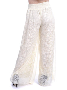 Anna-Kaci Womens Crochet Lace Boho Wide Leg High Waist Palazzo Trouser Pants