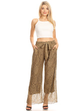 Load image into Gallery viewer, Anna-Kaci Womens Crochet Lace Boho Wide Leg High Waist Palazzo Trouser Pants