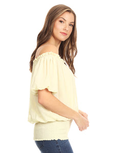 Dainty Off Shoulder Stretch Waist Blouse